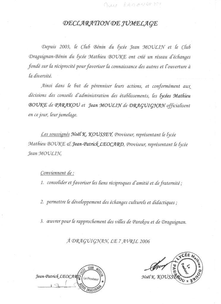 Jumelage avec le lycée Mathieu Bouké – Parakou